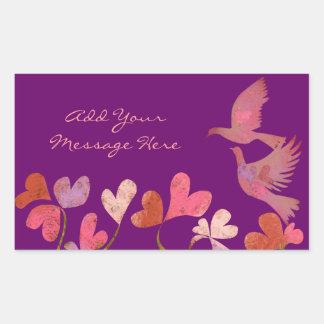 Tree of hearts and Love birds Rectangular Sticker