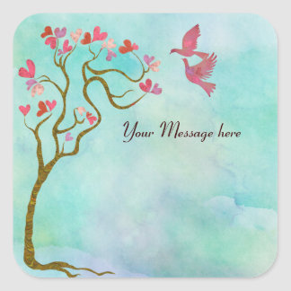 Tree of hearts and Love birds Square Sticker