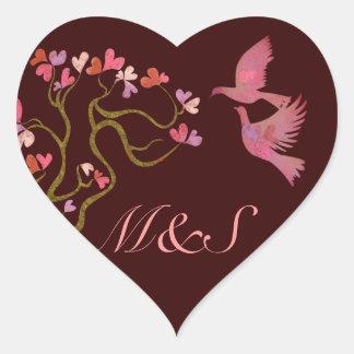 Tree of hearts and Love birds Heart Sticker