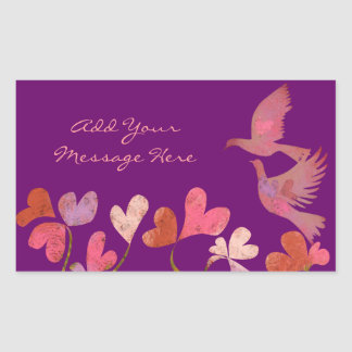 Tree of hearts and Love birds Rectangular Sticker