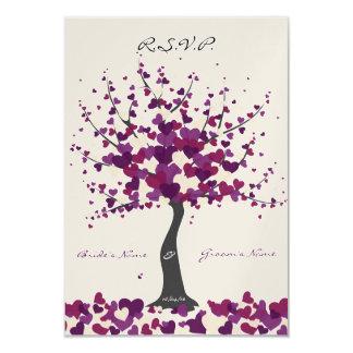 Tree Of Hearts - Purple Wedding RSVP Card