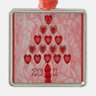 Tree of Hearts Silver-Colored Square Decoration