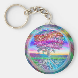 Tree of Life Basic Round Button Key Ring