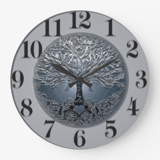 Tree of Life Blue Sky Peaceful Night Large Clock