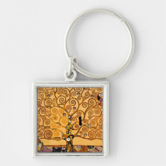 Tree of Life by Gustav Klimt Fine Art Silver-Colored Square Key Ring