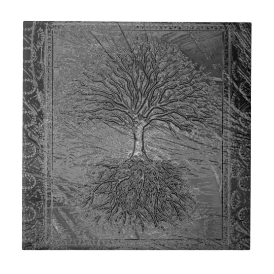 Tree of Life Chrome Small Square Tile