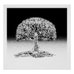 Tree of Life Coral Reef Black and White Print