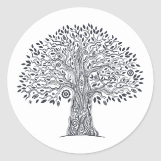 Tree Of Life Doodle Classic Round Sticker