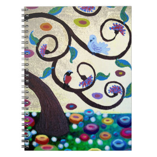 Tree of life dove and robin spiral notebook
