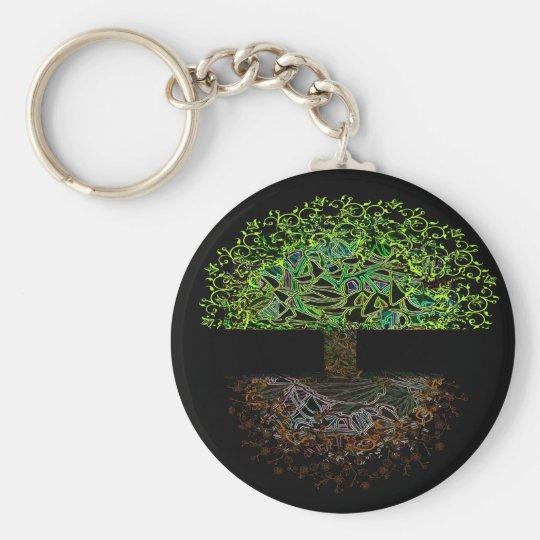 Tree of Life Glow Basic Round Button Key Ring