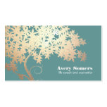 Tree of Life Health and Wellness Teal Business Card Templates
