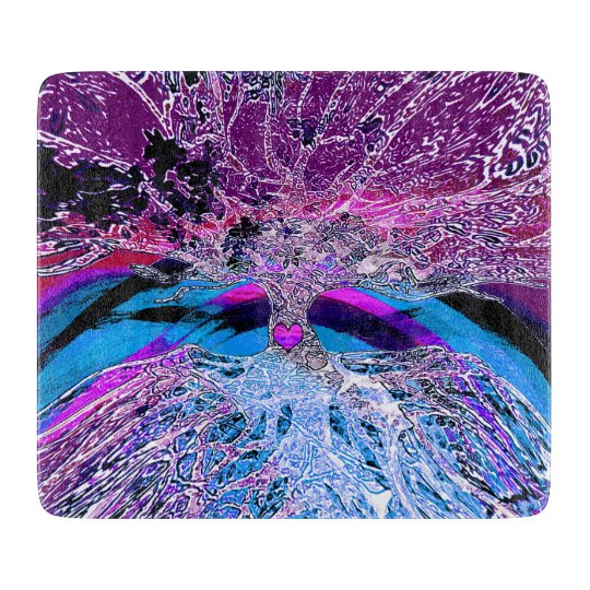 Tree of Life Heart in Purple and Blue Cutting Boards