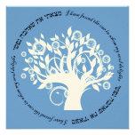 Tree of Life Hebrew Jewish Wedding Blue Personalised Invitations