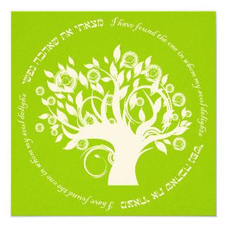 Tree of Life Hebrew Jewish Wedding Green 13 Cm X 13 Cm Square Invitation Card