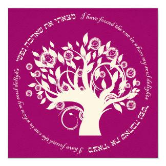 Tree of Life Hebrew Jewish Wedding Pink Red 13 Cm X 13 Cm Square Invitation Card