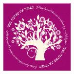 Tree of Life Hebrew Jewish Wedding Pink Red Personalised Invites