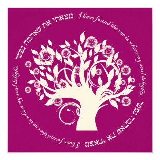 Tree of Life Hebrew Jewish Wedding Pink Red Personalized Announcement