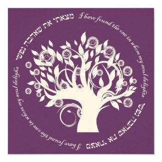 Tree of Life Hebrew Jewish Wedding Purple 13 Cm X 13 Cm Square Invitation Card