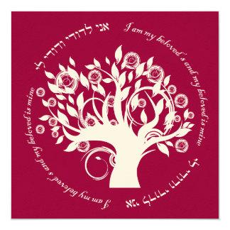 Tree of Life Hebrew Jewish Wedding Red 13 Cm X 13 Cm Square Invitation Card