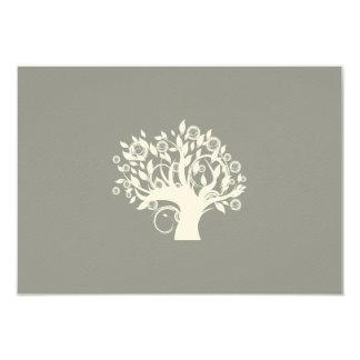 Tree of Life Hebrew Jewish Wedding RSVP Silver 9 Cm X 13 Cm Invitation Card
