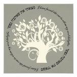 Tree of Life Hebrew Jewish Wedding Silver 13 Cm X 13 Cm Square Invitation Card
