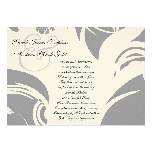 Tree of Life Hebrew Jewish Wedding Silver 5x7 Personalized Invite
