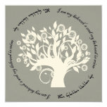 Tree of Life Hebrew Jewish Wedding Silver Personalized Announcements