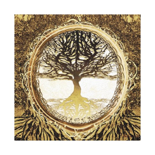 Tree of Life in Brown Stretched Canvas Prints