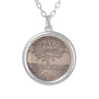 Tree of Life in Brown Silver Plated Necklace