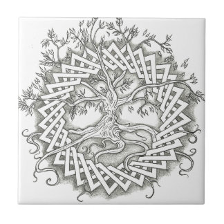 Tree of Life in Celtic Design Small Square Tile