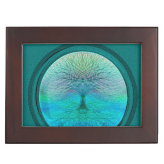 Tree of Life in Green Colors Keepsake Box