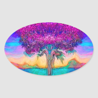 Tree of Life in Rainbow Colors Oval Sticker
