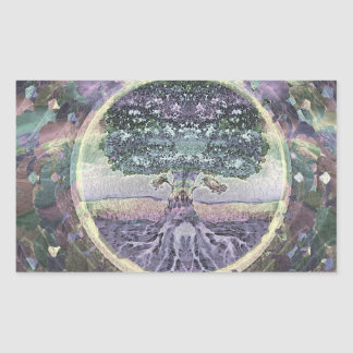 Tree of Life in Rainbow Metal Colors Rectangular Sticker