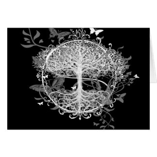 Tree of Life in White with Butterflies Greeting Card