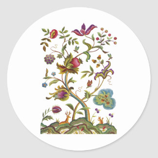 Tree of Life Jacobean Embroidery Classic Round Sticker