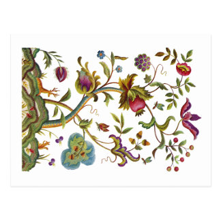 Tree of Life Jacobean Embroidery Postcard