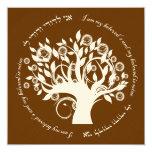 Tree of Life Jewish Hebrew Wedding Blrown 13 Cm X 13 Cm Square Invitation Card