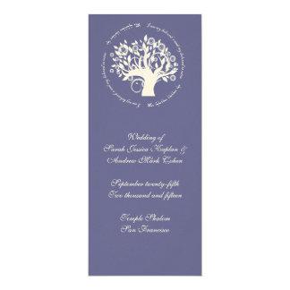 Tree of Life Jewish Wedding Ceremony Card Purple 10 Cm X 24 Cm Invitation Card