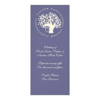 Tree of Life Jewish Wedding Ceremony Card Purple Personalized Invite