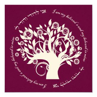 Tree of Life Jewish Wedding Cranberry 13 Cm X 13 Cm Square Invitation Card