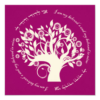 Tree of Life Jewish Wedding Cranberry 5.25x5.25 Square Paper Invitation Card