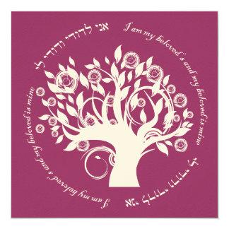 "Tree of Life Jewish Wedding Cranberry 5.25"" Square Invitation Card"