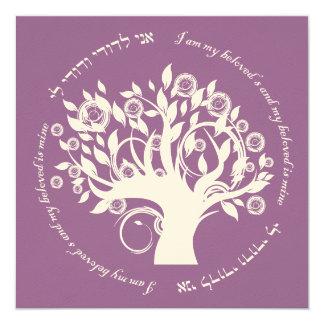 Tree of Life Jewish Wedding Purple 5.25x5.25 Square Paper Invitation Card
