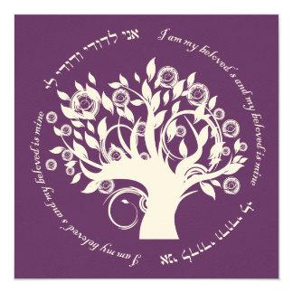 Tree of Life Jewish Wedding Purple 13 Cm X 13 Cm Square Invitation Card