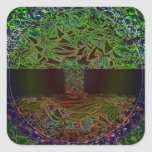 Tree of Life Knowingness Electric Coloured.jpg Square Stickers