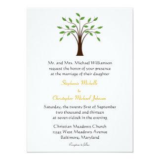 Tree of Life Modern Symbolic on White #2 Wedding 14 Cm X 19 Cm Invitation Card