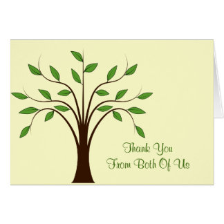 Tree of Life Modern Wedding Thank You From Both Stationery Note Card