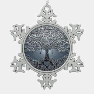 Tree of Life Nova Blue Pewter Snowflake Decoration