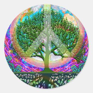 Tree of Life Peace Classic Round Sticker