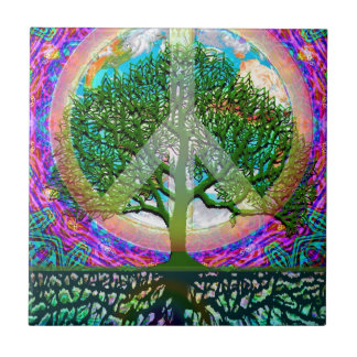 Tree of Life Peace Small Square Tile